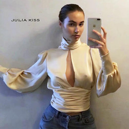 2021 zurück krawatte bluse Frauen Tauchen Open Back Tie Long Sleeve Top High Neck Cut-out-Insert Tie Fastening Zurück Bluse