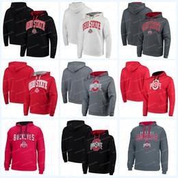 Grau weißer schwarzer hoodie online-Herren Ohio State Buckeyes Trikots Colosseum Big Logo Arch Logo Pullover Hoodies Sweatshirts Schwarz Weiß Rot Grau Hoodies Sweatshirts