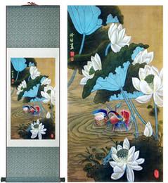 2019 kreis gemälde leinwand Mandarin Ducks Super Qualität Traditionelle Chinesische Kunst Malerei Innenministerium Dekoration Chinesische MalereiGedruckte Malerei