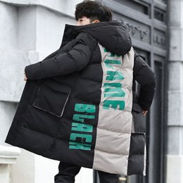 427f49c0e6f winter Korean Edition new male loose thickened patchwork Contrast color  Cotton-padded clothes large size casual Even Hat coat