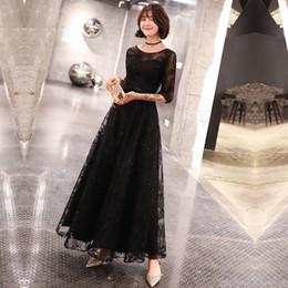 Canada Été New Elegant Woman Black Mesh Maxi Dress Exquins Sequins Bling Robe De Soirée Formelle Cheongsam Mi-Manche A-line Qipao cheap mid maxi dresses Offre