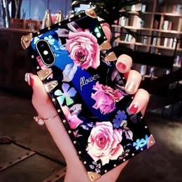 2019 iphone bleu 3d case Luxe Bleu Lumière Couverture De Mode Glitter 3D Fleur Cas De Téléphone Pour iPhone X XR XS Max 8 7 6 6 s Plus S9 Mate20 Coque Souple Coque GSZ507 iphone bleu 3d case pas cher