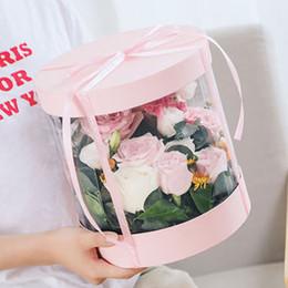 оптовые украшения супергероев Скидка Ясно ПВХ цветочные коробки прозрачный круглый торт коробка упаковка букет подарочные коробки для свадьбы пользу день рождения День Святого Валентина