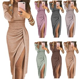 sexy bright dresses Coupons - Sexy Off Shoulder Party Dress Women High Slit Peplum Bodycon Dress Autumn Three Quarter Sleeve Bright Silk Shiny Dress