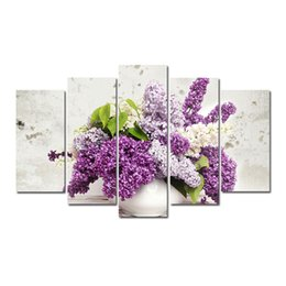 flowers posters canvas Coupons - 5 Pcs Combinations HD Purple Beautiful Potted Flower Pattern Unframed Canvas Painting Wall Decoration Printed Oil Painting poster