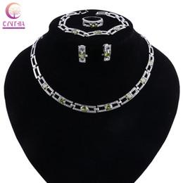 Ювелирные наборы для подружек невесты онлайн-Fashion Necklace Sets For Women Bridesmaid  Crystal Zircon Bridal Wedding Costume Turkish Jewelry