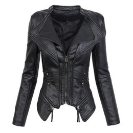 c29c25648a51d Faux Leather PU Motorcycle Biker Jacket Womens Gothic PU Leather Zipper Long  Sleeve Slim Women s Jackets Coats Outerwear Black