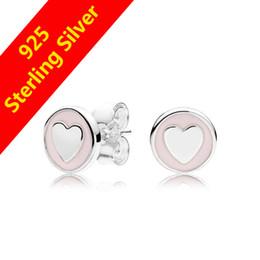 68d614fd3 Women Fashion Cute Pink Enamel Heart Stud Earring Original Gift box For  Pandora 925 Sterling Silver Earrings for Girls