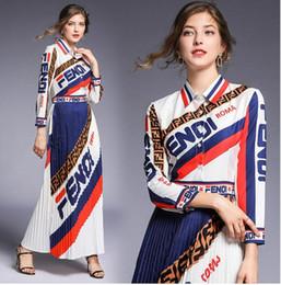 vestiti bohémien economici Sconti 19ss nuove donne di arrivo vestito a maniche lunghe di estate stampato lettere abiti abiti firmati bowknot donne vestito spaccato