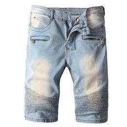 Mens jeans cerniere ginocchia online-Mens Designer Denim shorts Zipper Pockets estate sottile dei jeans 2 colori diritta di lunghezza del ginocchio di trasporto del motociclista Jeans libero