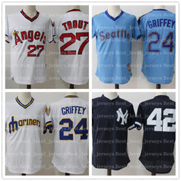 0fc9b0106de cheap retro mesh 27 Mike Trout jerseys 24 Griffey Jr jersey Ken 23 Don  Mattingly 24 Gary Sanchez Angels jersey Mariners Yankees on sale