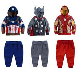 Traje deportivo para niños Superhéroe Película Iron Man Dibujos animados Niños Trajes Sudaderas con capucha de manga larga + Pantalones casuales Ropa para niños Set Retail K1044 desde fabricantes