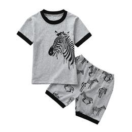 2 UNIDS Verano Ropa de Bebé Bebé Niña Establece Infant Toddler Kids Baby Boy Girls Animal Zebra Imprimir Tops + Shorts ropa Set JE12 # F desde fabricantes