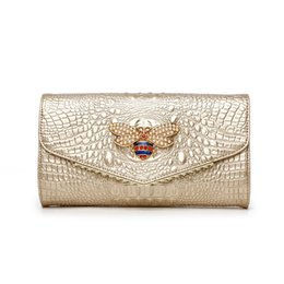 Embreagens elegantes bolsas on-line-Evening ombro de crocodilo Mulheres Clutch Bag Feminino de luxo Designer Bolsas de alta qualidade Genuine Leather Bag Mulheres elegantes