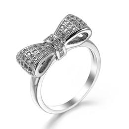 15511fbf790b Venta caliente 100% 925 joyería de la boda del anillo apilable del nudo del  arco espumoso de la plata esterlina para las mujeres anillos elegantes