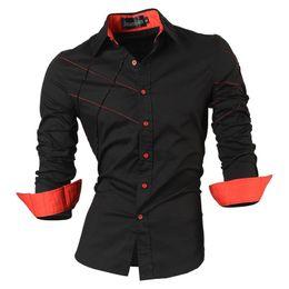 Черная рубашка с длинным рукавом онлайн-Повседневные рубашки Мужская мужская одежда с длинным рукавом Социальная Slim Fit Бренд Бутик Хлопок Western Button White Black