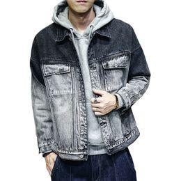 2019 homens cinza denim jaquetas Moda Masculina Gradiente Cor Jaquetas Jeans Outono Inverno Jeans Casual Jaqueta Para Masculino Azul E Cinza Tamanho M-XXXL homens cinza denim jaquetas barato