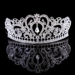 Wholesale Bling wulstige Kristalle Hochzeit Kronen Braut Diamant Schmuck Strass Stirnband Haar Crown Zubehör Partei Tiara billig Freies Verschiffen
