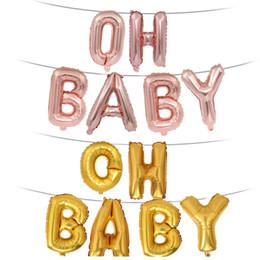 conjuntos de decoración de la ducha del bebé Rebajas Conjunto de globos metálicos de decoración de cumpleaños para bebés OH BABY Baby Shower Party Decoration Supplies 6 Piece / lot Globos decorativos Party Supplies