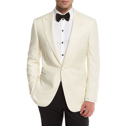 navy wool suit Coupons - Ivory Men Suits Wedding Suit Bridegroom Business Groom Wear Tuxedos Custom Made Formal Slim Fit Male Blazers Groomsmen Best Man Jacket Pants
