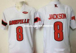 Mens NCAA Louisville Cardinals Lamar Jackson College Football Jerseys  Stitched White Red Black  8 Lamar Jackson Jersey S-5XL 07bfd30aa