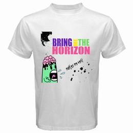 Männer nass weiß online-New Bring Me The Horizon * Makes Me Wet Rock Band Männer weißen T-Shirt Größe S-3XL T-Shirt Männer lose Größe T-Shirt