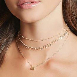 2019 aaa edelstein perlen Layered Halskette Troddel-Halsketten für Frauen 2018 Mode Schmuck Dreieck Anhänger Halskette Gold-Silber-Farbe Collier