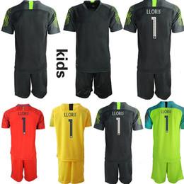kundenspezifische fußball jersey kinder Rabatt Custom 1.LLORIS France Torwart Kids Fußballtrikots Fußballtrikots Kinder-Junioren-Ensemble-Fuß