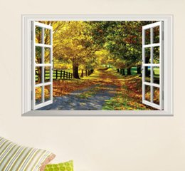 2019 vue windows 3d Mode Grand Maple Boulevard 3D Vue de la fenêtre Amovible Stickers Muraux Room Art Decal Home Mur Papier Peint