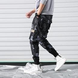 Macacões masculinos harém on-line-Moda Hip Hip Calças Carga Harem Pant Homens Bolsos Streetwear Impressão Harajuku Casual Macacões Masculino Basculador Sweatpant Calças