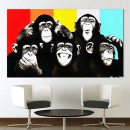 2019 imagens de funny art 1 Pcs Animal Da Arte Da Lona Pintura A Óleo Pop Art Engraçado Macaco Parede Pictures Para Sala de estar Home Decor Impresso Sem Moldura imagens de funny art barato