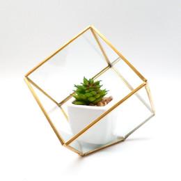 Decorazioni porta oro online-all'ingrosso decorazione domestica Copper Gold Glass Cube Piccolo Geometric Terrarium Planter con porta