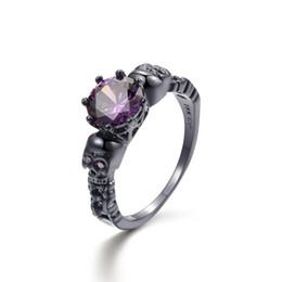 Argentina Punk Skull Ring Big Round Purple Crystal Zircon Anillos para mujeres y hombres Vintage Black Ring Jewelry supplier purple zircon ring Suministro