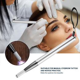 2019 máquina dermapen Manual Microblading LEVOU Luz De Alumínio Tatuagem Sobrancelha Caneta Arma Ferramenta de Maquiagem Lâmina Titular Maquiagem Permanente Canetas Caneta
