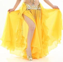 Argentina Disfraz de danza del vientre para mujer Gasa Faldas de danza del vientre Tribal Maxi Full Dance Falda Vestido Bellydance Traje Blanco cheap dance outfits for women Suministro