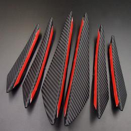 Pegatinas de labios de coche online-Negro de fibra de carbono del coche que labra los accesorios del tope delantero del labio de goma Fin Spoiler Splitter Canard Valence etiqueta