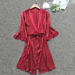 1a34a5fd83 kimono bathrobe women bridesmaid robes bath satin robe Lace Vintage Solid dressing  gown sexy night robe peignoir femme badjas