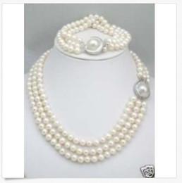 Triple rangée de perles des mers du sud en Ligne-HOT triple brins 8-9mm South Sea White Collier Collier Bracelet Mabe Fermoir