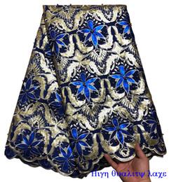 Laço africano africano da organza on-line-Alta Qualidade Africano Organza Lantejoulas tecido de renda com Contas do bordado Duplo Organza Mão Cortada Francês Net lace XY23601