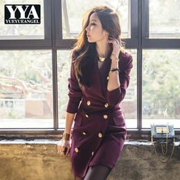 367cedf8fc5 2019 New Winter Ladies Dress Korean Long Sleeve Slim Fit Wrap Dress Female  Elegant Double Breasted V-Neck Plus Size XL