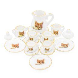 Cats miniature online-ingrosso 1:12 in miniatura 15 pz porcellana tazza di tè set modello di gatto casa delle bambole accessori da cucina