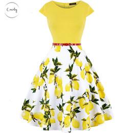 capas de skater Desconto Verão mulheres se vestem 60S Vintage Cap Sleeve O Neck Floral flor do limão Rockabilly Pin Up 50S Skater Casual Nova