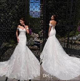 sereia bonito vestidos de noiva de volta Desconto Sexy sereia vestidos de casamento Oferecer o ombro bonito Lace Up voltar design vestido de noiva bonito Robes De Mariee venda quente