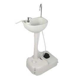 Distributeurs de serviettes en Ligne-Lavabo lavabo blanc extérieur portatif avec roues de roulement à eau, porte-serviettes et distributeur de savon pour camping-car, caravaning, pêche