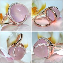 anillos de oro topacio rosa Rebajas Anillo de diamante de oro de 14K Rose Moonstone de la Mujer Rosa oval Topaz Biżuteria Anillos de piedras preciosas boda de la joyería 14K Cirle Ring Box
