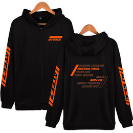 korean hoodie sweatshirt zipper Coupons - ATEEZ Printed Zipper Hooded Sweatshirt 2019 New Korean Team Harajuku Casual Hot Sale Hoodies Zipper Hip Soft sweatshirt T5190604