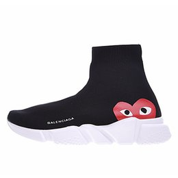 Botas planas blancas baratas online-Balenciaga Diseñador barato Speed Trainer moda hombre mujer Calcetines Botas negro blanco azul rojo brillo Flat para hombre Zapatillas Zapatillas de deporte Corredor Zapatos