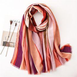 rainbow print scarfs Coupons - Scarf Woman Winter Vertical Bar Rainbow Cotton And Hemp In Autumn Feel Printing Keep Warm Long Fund Shawl Dual Purpose