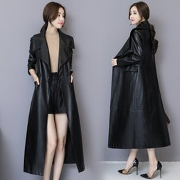 2019 плюс размер кожаный рукав пальто S-5XL Women Lapel Collar  Genuine Leather Long Sleeves Trench Coat Overcoat Outwear Jacket Plus Size New Slim Fit дешево плюс размер кожаный рукав пальто