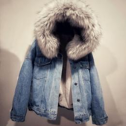 revestimento da sarja de nimes da pele do falso Desconto Mulheres jaqueta jeans de Inverno Grosso Jaqueta Jean Faux Fur Collar Fleece Com Capuz Denim Casaco Feminino Quente Denim Outwea T190910
